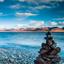 Landscape of Zhaxi island in Namtso Lake Tibet