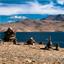Buddhist stone pyramid at morning Tso Moriri Lake