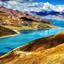 Yamdrok Lake sunny blue sky day in Tibet