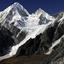 Nemjung / Himlung Himal - avalanche viewed from Larkya Pass