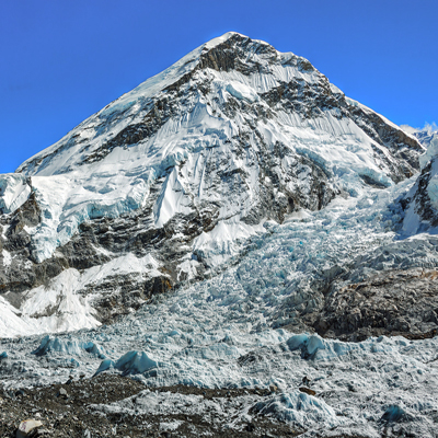View of the Khumbutse (6639 m) from Khumbu Glacier
