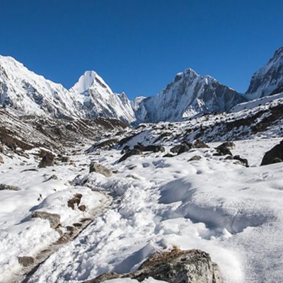 View of Pumori, Lingtren and Khumbutse