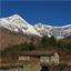 Idyllic village Titi, Dhaulagiri and Tukuche Peak, high mountains in Nepal