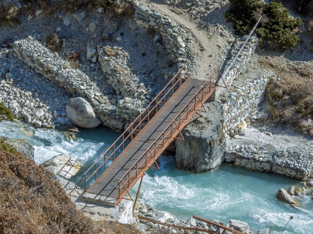 The Metal Bridge on the trail to Everest Near Periche