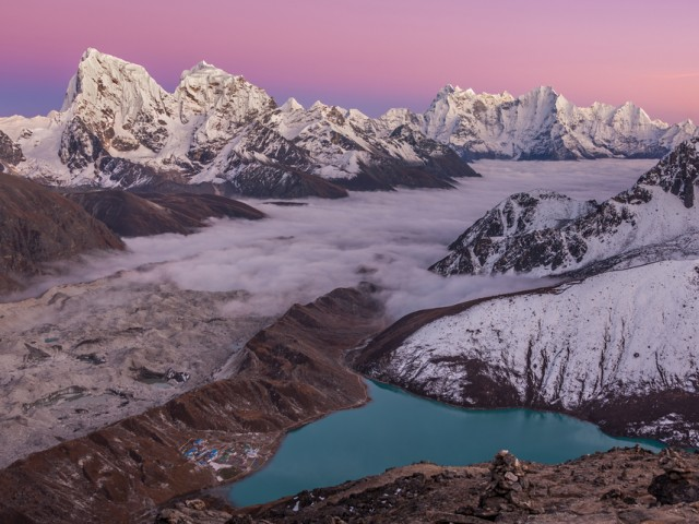 View from Gokyo Ri (5357 m) at Sunset