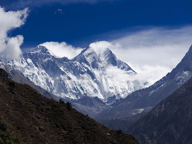 View of Everest an and Lhotse from Namche Bazar