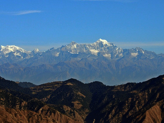 Nanda Devi and Himalayas from Dhanaulti