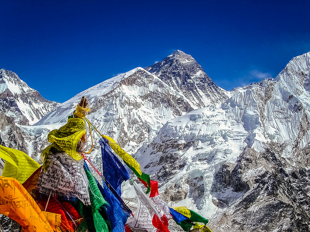 Everest with prayer flags