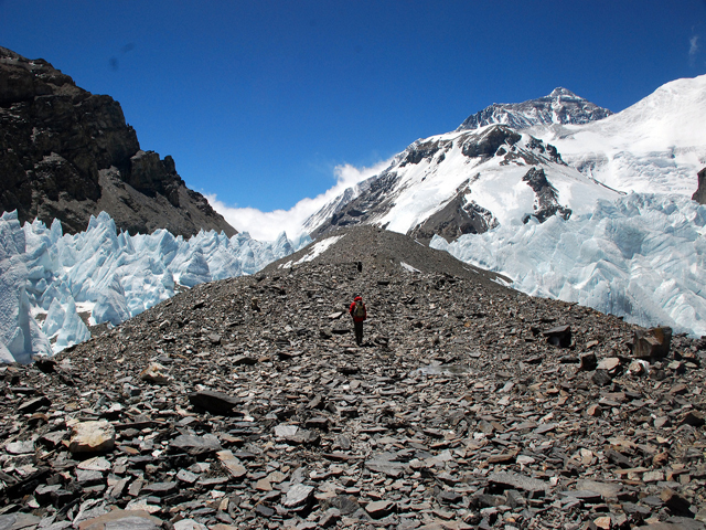 Hiking up the Lateral Moraine of Rongbuk Glacier