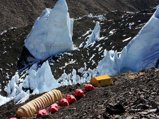 Giant Seracs and Camp Near Rongbuk Glacier