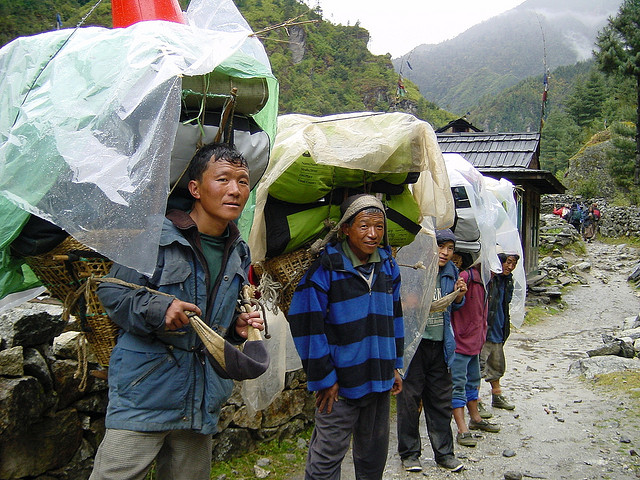 – Nepali Porters on Way to Everest Base Camp