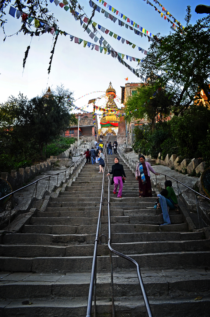 Staircase Going Up To Monkey Temple