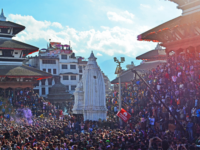 Celebrating Holi at Durbar Square Nepal