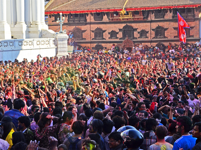 Darbar Square  packed with People in Holi
