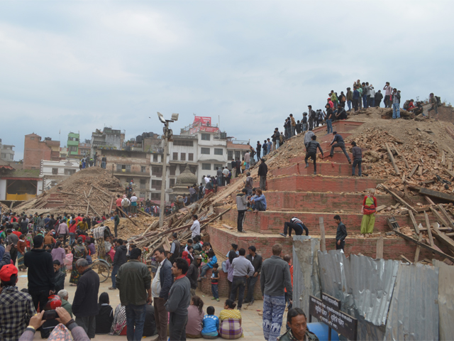 Destruction at Durbar Square