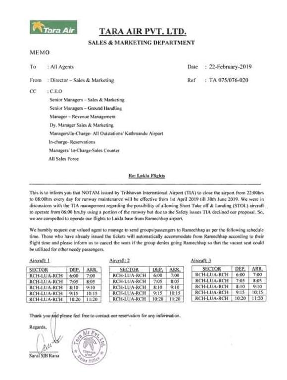 Tara Air Notification